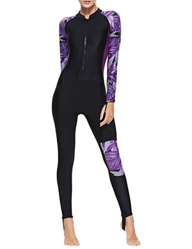 besbomig Damen Ganzkörperansicht Badeanzug Overall Wetsuit Surfanzug Lange Ärmel Tauchanzug - Strand Watersport UV Schutz Schwimmanzug