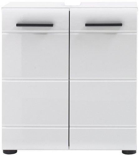 Trendteam Badezimmer Waschbeckenunterschrank Unterschrank Skin Gloss, 60 x 56 x 31 cm in Weiß Hochglanz mit Siphonausschnitt