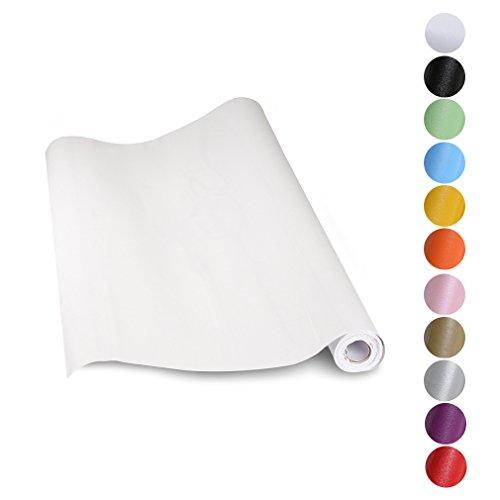 KINLO aufkleber küchenschränke Weiß 61x500cm aus hochwertigem PVC tapeten küche klebefolie Möbel Wasserfest aufkleber für schrank selbstklebende folie Küchenschrank küchenfolie Dekofolie 2 Jahren Garantie