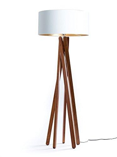 Hochwertige Design Stehlampe Tripod mit Textil Schirm aus Chintz in Weiß Gold und Stativ/Gestell aus dunklem Holz Echtholz Nussbaum   H= 160cm   Stehleuchte   Handgefertigte Leuchte
