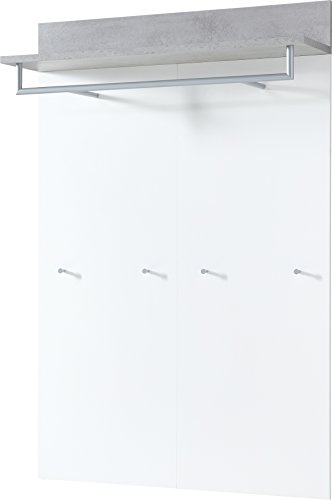 Germania 3773-531 Garderobenpaneel mit Kleiderstange GW-Topix in Weiß/Beton-Optik, 96 x 147 x 29 cm (BxHxT)