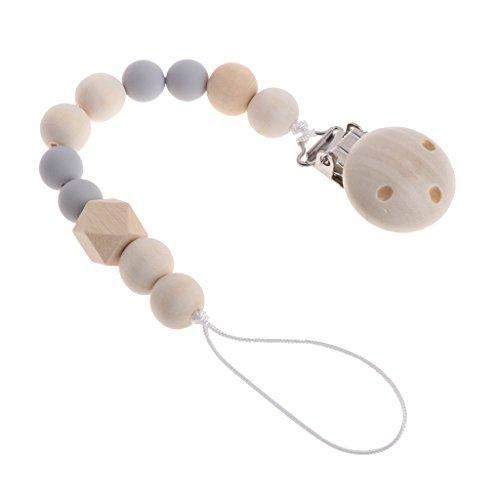 Jiamins Baby Holz Perlen Schnuller, Schnullerkette,Schnuller Clip (Grau)