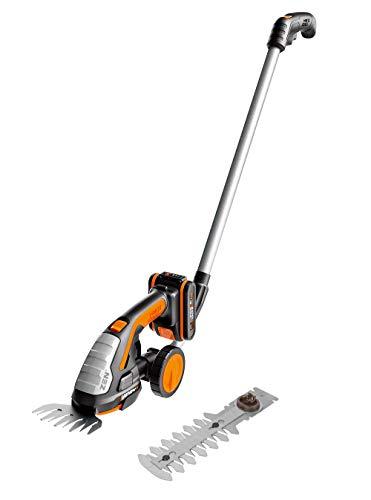 WORX 20V Akku Gras- und Strauchschere WG801E.3, Powershare, Heckenschere Rasenschere 12 cm Strauchtrimmer, 10 cm Grasmesser, Teleslopstiel Rasenkantenschere