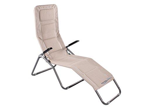 Meerweh Aluminium Gartenliege extra Hoch Sitzhöhe ca. 43 cm Bäderliege Sonnenliege Saunaliege, Beige, 153 x 72 x 126 cm