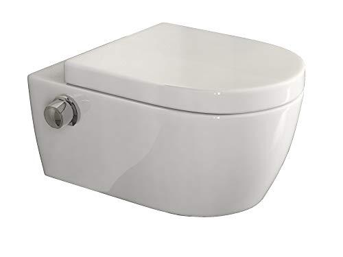 SSWW Taharet WC inkl. Armatur und abnehmbarer Softclose Sitz & Beschichtung Dusch-WC Intimdusche Toilette mit Bidetfunktion Shattaf (Alpha Unterspülrand Dusch-WC)