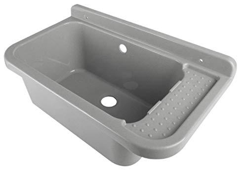 Waschbecken Ausgussbecken 50 cm x 34 cm x 21 cm Spülbecken Waschtrog mit Überlauf Waschbecken für Gewerbe Waschraum Garten inkl. Ablaufgranitur