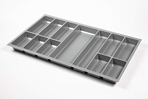 noveo Premium Besteckeinsatz Metallic-Silber passgenau für Nobilia UVM. stabile Ausführung 500er Korpustiefe (473,5 x 793mm (90er Korpusbreite))