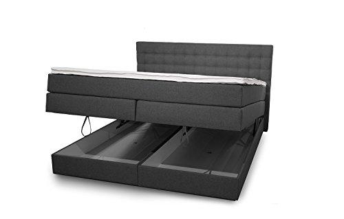 King Boxspringbett 180x200 cm mit Bettkasten und Luxus 7-Zonen Taschenfederkernmatratze Visco-Topper H3 Anthrazit Hotelbett Doppelbett Polsterbett von Betten Jumbo