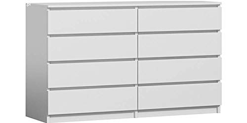 RADgermany Moderne Kommode 8 Schubladen 120cm BREIT Schubladenkommode Weiß NEU