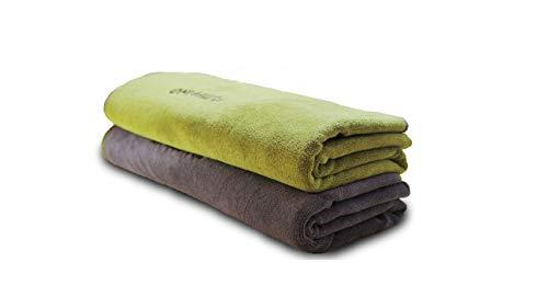 FLUFFINO Hundehandtuch – Saugfähig, Waschbar u. Weich (2er-Pack, 120 x 70 cm, Grau & Grün) – schnell trocknendes mikrofaser Handtuch für kleine und große Hunde - Badehandtuch für Hunde/Katzen