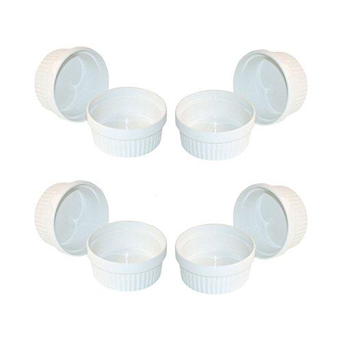 ToCi 8 weiße Creme Brulee Förmchen 11 cm | Schälchen für Ragout Fin | Pastetenform aus Keramik | auch für Schoko-Souffle