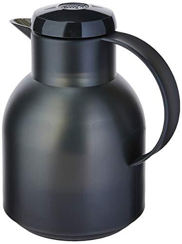 Emsa 504235 Samba Isolierkanne (1 Liter, Quick Press Verschluss, 12h heiß, 24h kalt) schwarz