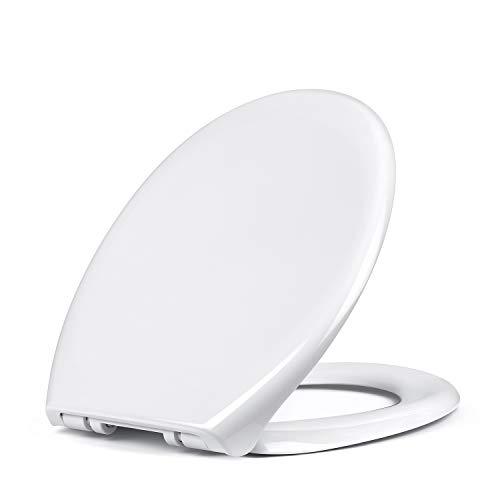 Amzdeal WC Sitz mit Absenkautomatik, WC Deckel Toilettendeckel PP Klodeckel, Toilettensitz mit langsamer Absenkung und Soft-Close Funktion/O-Form PP