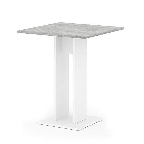 Vicco Esstisch EWERT Küchentisch Esszimmer Tisch Säulentisch weiß 65x65 cm (Weiß/Beton)