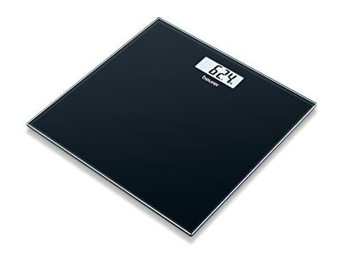Beurer GS 10 Black digitale Waage, mit LCD Anzeige, Überlastungsanzeige, Abschaltautomatik, flaches und schickes schwarzes Design aus Glas