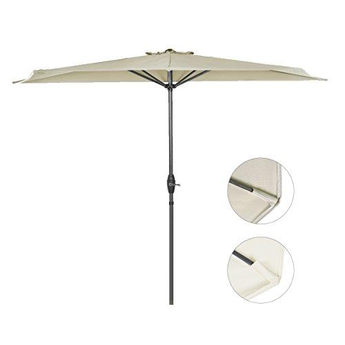 Sekey 2.7m halb-runder Sonnenschirm / Marktschirm / Terrassen-Schirm mit Kurbel für Garten, Terrassen, Höfe, Schwimmbäder, mit 5 Stahlverstrebungen, 100% Polyester Schirm , UV 50+,taupe