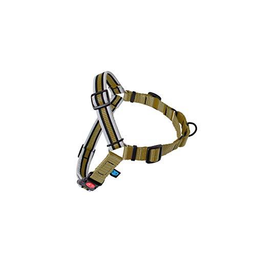 Reflective Dogwear Hundegeschirr Anti-Pull Größe M 53-80cm (Oberkörper) Einstellbar Reflektierend Druckknopf mit Sicherung Softgeschirr Hunde Geschirr Breite 25mm Olivien