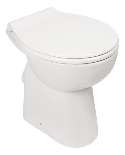 Stand-WC-Set +7 cm | Spülrandlos | Erhöhtes WC | Inklusive WC-Sitz | Für Senioren und große Menschen | Tiefspüler | Abgang waagerecht | Weiß | Spülrandlose Toilette | Spülrandloses WC | Stand-WC | Einfache Reinigung