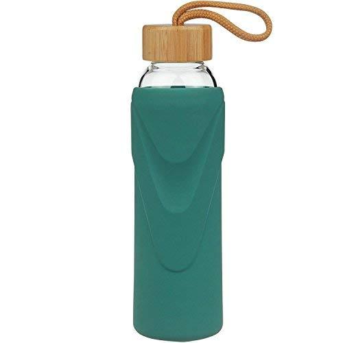 FCSDETAIL Sport Borosilikat Trinkflasche Glas Wasserflasche mit Silikonhülle mit Bambusdeckel 420ml