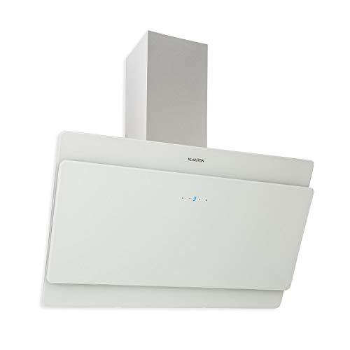 Klarstein Aurica 90 Dunstabzugshaube • Wandhaube • kopffrei • 90 cm breit • 610 m³/h Leistung • Touch-Steuerung • Glas • Umrüstung auf Umluft möglich • weiß