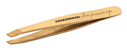 Tweezerman Studio Collection Ultra Precission mini Pinzette mit rostfreier, TNT Gold Beschichtung aus Edelstahl mit handgefeilter abgeschrägte Spitzen