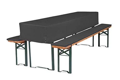 TexDeko GmbH Bierbankauflagen mit Tischhusse halblang für Bierzeltgarnitur (Schaumstoff Extra Stark RG30/50) (220x70x30cm) in Anthrazit
