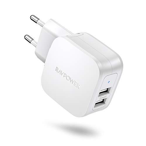 USB Ladegerät RAVPower 2-Port Ladestecker, 17W Ladeadapter USB Netzteil mit iSmart Technologie für iPhone XS/XS Max/XR/X/8/8 Plus, iPad, Galaxy S9 S8 Plus, LG, Huawei, HTC, MP3. usw