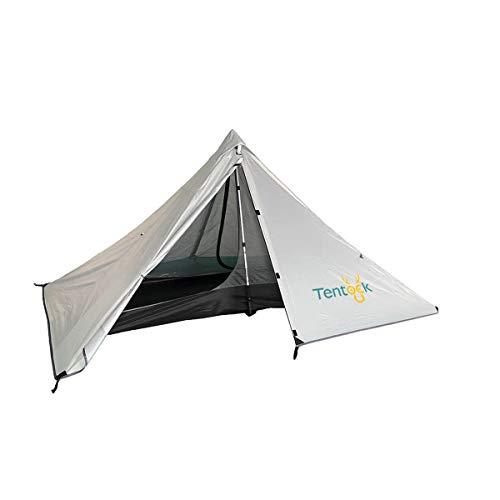 Tentock 3 Jahreszeiten Pyramidenzelt im Freien 1 Person Wasserdichtes Ultraleicht Zelt für Reisen Trekking Bergsteigen(grau)