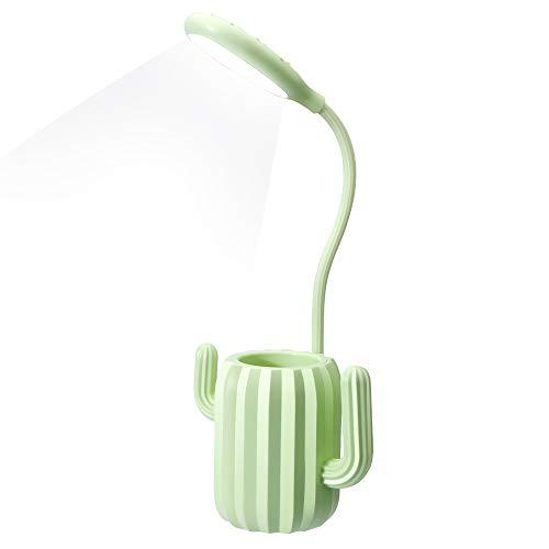 Schreibtischlampe für Kinder,Nachttischlampe mit USB Dimmbare, Leselampe 3 Helligkeitsstufen mit Touch-Schalter und Stifthalter (Grün)