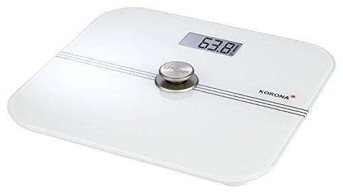 Korona-Personenwaage Mona 73160 I batterielos I umweltfreundlich | 200kg Tragkraft | Glas | Weiß