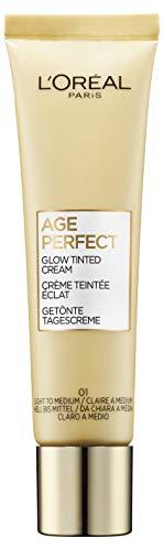 L'Oréal Paris Age Perfect Getönte Tagescreme, Hell bis Mittel 01, feuchtigkeitsspendend Tagescreme mit Hyaluron für trockene und reife Haut