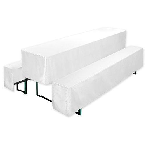 Gräfenstayn Valentin Biertischhussen-Set 3 tlg für Bierzeltgarnitur – 70cm oder 50cm Tischbreite - mit Öko-Tex Standard 100 (50 x 220 cm, Weiß)