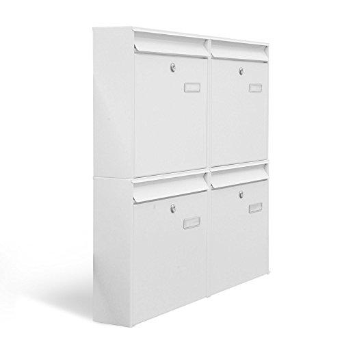 BANJADO Briefkastenanlage 4 fach/Stahl weiß mit 4 Briefkästen / 72,4 x 64,4 x 10cm / inklusive Namensschild/Wandmontage