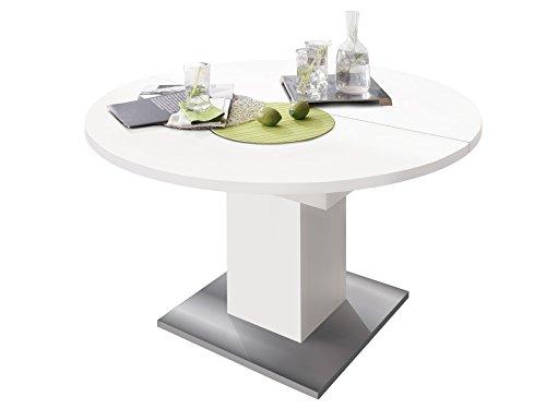 Esszimmertisch Speisentisch Esstisch Tisch Küchentisch Holztisch 'Judd III' weiß matt/Edelstahloptik