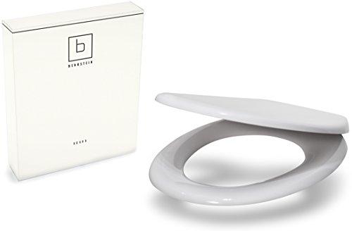 Benkstein Premium Toilettendeckel Klodeckel in Weiß mit Quick-Release-Funktion und Softclose Absenkautomatik. Antibakterielle Klobrille aus Duroplast und rostfreiem Edelstahl. WC-Brille WC-Deckel WC Sitz