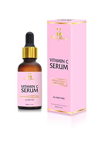 White Sherry Cosmetics Vitamin C Serum 20% | Hyaluronsäure | Argan Öl | 30 ml | natürliches Anti Aging Serum für Gesicht, Hals und Dekolleté | hochdosiert und vegan