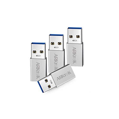 USB C Adapter - ARKTEK USB A 3,0 (Männlich) auf USB Typ C (Weiblich) Konverter für Computer Laptop Galaxy S9 Note 9 Surface Pro 6 ThinkPad Spectre Inspiron Aspire und mehr (4er Pack, Aluminium)