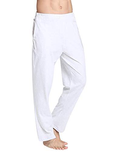 VENI MASEE Männer 100% Baumwolle Reine Farbe super weiche Pyjama Hosen Yoga Hosen - Grau - M