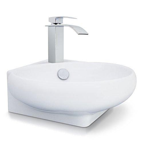 VENKON - Eckwaschbecken Waschbecken mit NANO Beschichtung / Universale Waschschale für Wand- oder Tischmontage - reinweiß, ca. 380 x 130 x 360 mm
