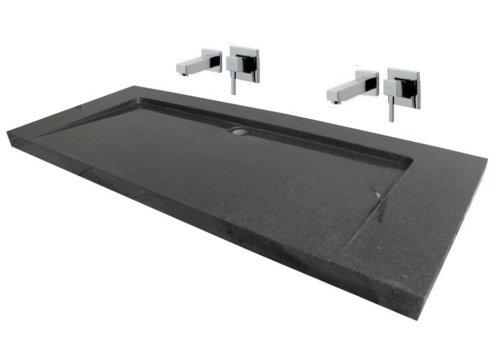 Waschbecken aus Naturstein, Granit, Model 'Bern Doppelwaschbecken',anthrazit