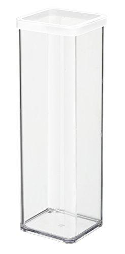 Rotho 1160690000 Vorratsdose Premium Loft - Aromadichte Aufbewahrungsbox - BPA-freie Frischhaltedosen, Inhalt 2 L - Form quadratisch, Kunststoff, transparent mit weißer Dichtung, 10 x 10 x 28.5 cm