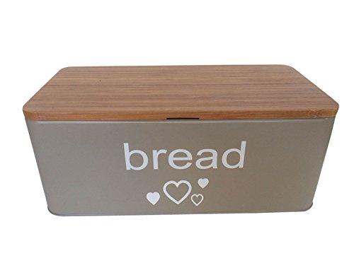 Geräumige Brotkasten aus Metall in Farbe Grau mit Bambusdeckel als Schneiderbrett Maße 33x18x12cm mit Luftzirkulation