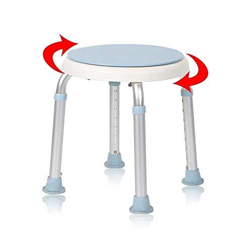 AUFUN Duschhocker Duschstuhl 36-51cm Höhenverstellbar und 360° Drehbar Badsitz Duschhilfe Anti-Rutsch Badsitz aus Alu und Kunststoff für Alter, Schwangere