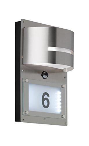 WOFI Hausnummernleuchte, Metall, E27, 14.7 W, Edelstahl Gebürstet Roh, 12.5 x 22 x 32 cm
