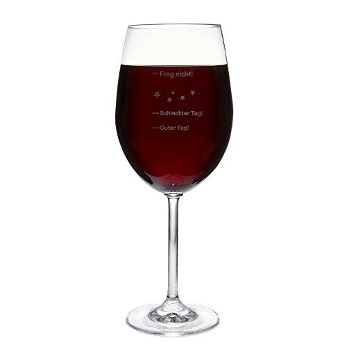 Leonardo XXL Jumbo Weinglas 'Guter Tag! - Schlechter Tag! - Frag nicht!', 640ml mit Gravur | Premium Weinglas mit Gravur | Rotweinglas | Weißweinglas | Tolles Geschenk