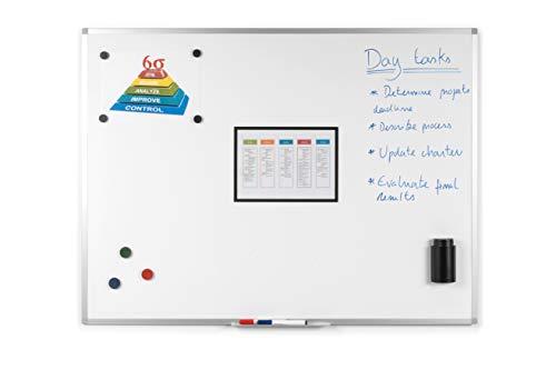 BoardsPlus - Magnetisches Whiteboard - 120 x 90 cm - Magnettafel mit Lackierte Stahloberfläche, Magnetwand mit Alurahmen Und Stifteablage