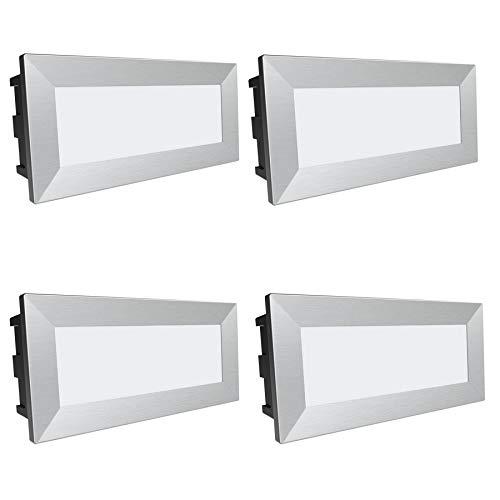 4 Stück SSC-LUXon LED Wandstrahler Piko-L - große Einbauleuchte 230V IP65 Wasserschutz für Außen & Innen 3,5W neutralweiß 230V