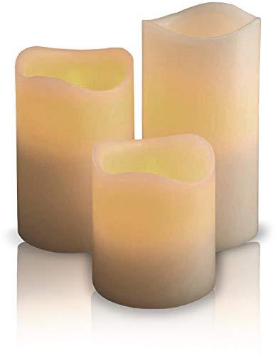 3 LED Kerzen aus Echtwachs - LovisLeander Wachskerzen klein inklusive Batterien - mit flackernder Flamme
