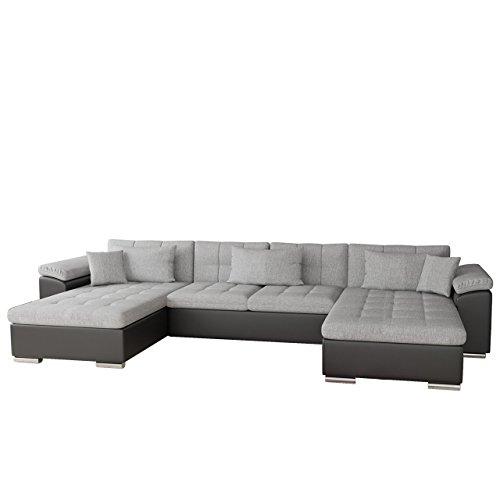 Mirjan24  Ecksofa Wicenza Bris! Elegante Big Sofa mit Schlaffunktion Bettfunktion! Technologie Cleanaboo, Schwerentflammbar, Wohnlandschaft! U-Form, Eckcouch Couch! (Soft 011 + Bristol 2460)