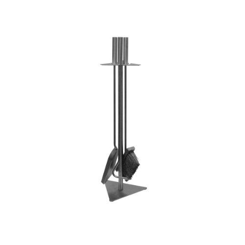 Kaminbesteck 3-teilig mit Stahlgriffen ca.60 cm hoch - Kamingarnitur mit Ständer bestehend aus Kehrschaufel, Schürhaken + Kamin-Besen - Farbe: gussgrau